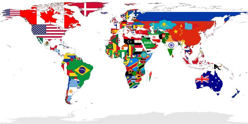 نقشه جهان که نمایانگر پرچم ملی کشورهاست