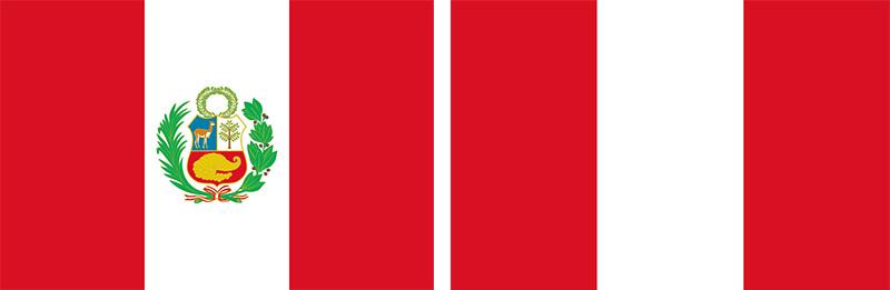 پرچمهای دولتی و شهروندی پرو نوارهای سرخ و سفید یکسانی دارند اما در میانه پرچم دولتی نشان رسمی کشور نیز قرار گرفته است.