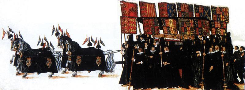 تشییع جنازه الیزابت اول انگلستان در سال 1603 میلادی. عزاداران پرچم هایی را از نیاکان اسلاف ملکه با خود حمل می کنند.